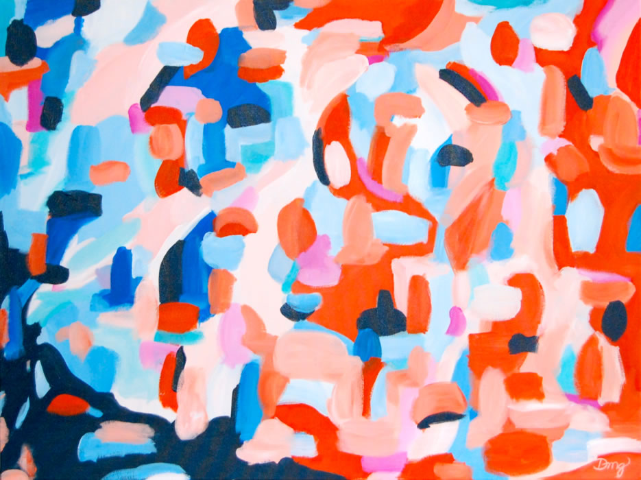 coral/navy abstract