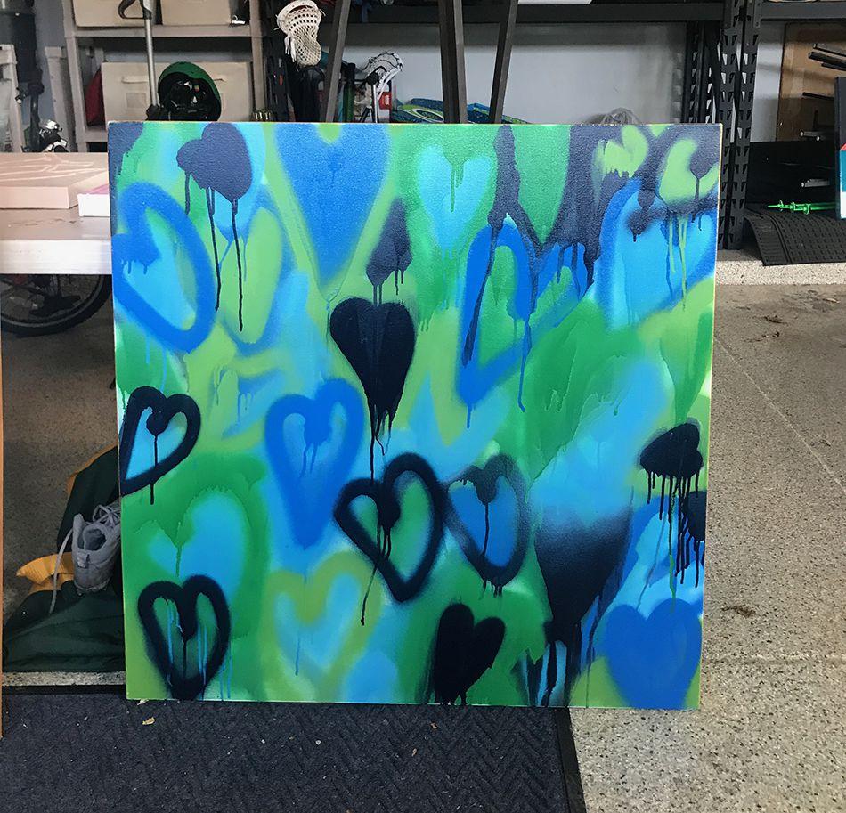Hearts 1 Blue Green